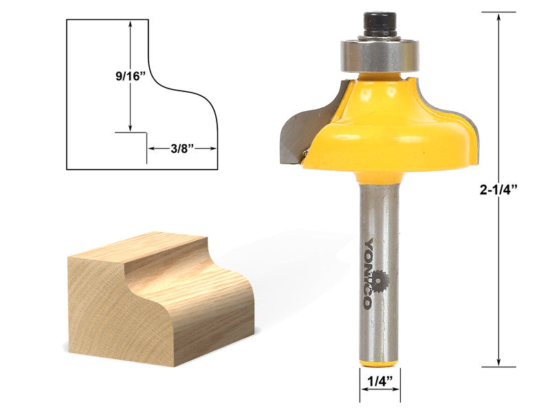 "Ogee Edging and Molding Router Bit - Medium - 1/4"" Shank - Yonico 13146q"