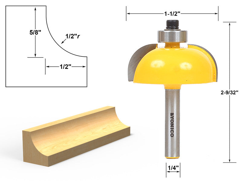"Cove Edging and Molding Router Bit - 1/2"" Radius - 1/4"" Shank - Yonico 13156q"