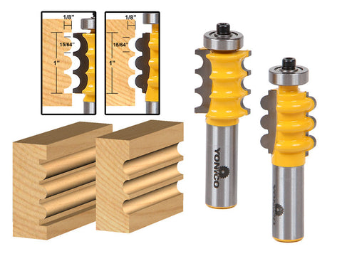 Triple Bead & Triple Flute 2 Bit Medium Molding Router Bits Set - Yonico 16261