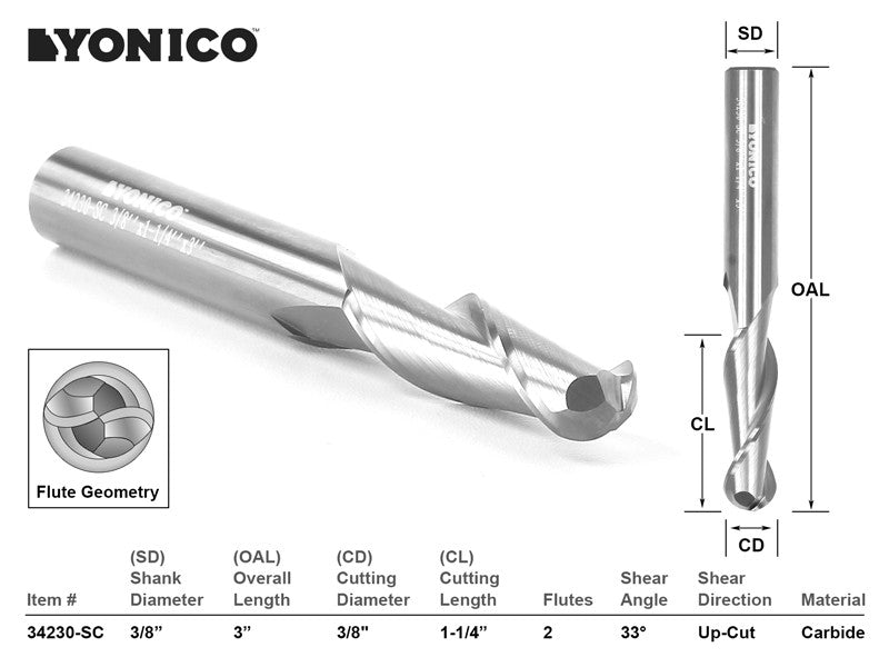 "CNC Router Bit Ball Nose Solid Carbide 3/8"" X 1-1/4"" X 3/8"" X 3"" YONICO 34230-SC"