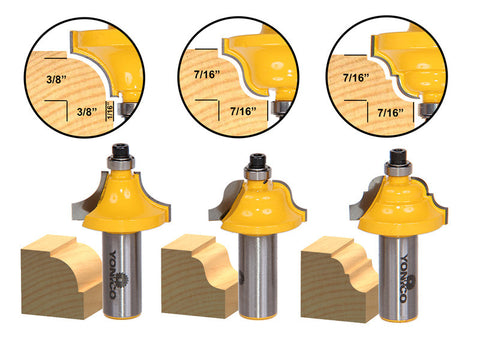 "3 Bit Edge Molding Router Bit Set - Medium Designer - 1/2"" Shank - Yonico 13321"