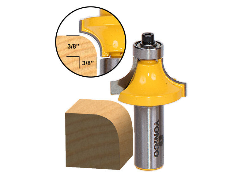 "Round Over Edging Router Bit - 3/8"" Radius - 1/2"" Shank - Yonico 13164"