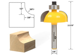 "Cove Edging and Molding Router Bit - 3/8"" Radius - 1/4"" Shank - Yonico 13154q"