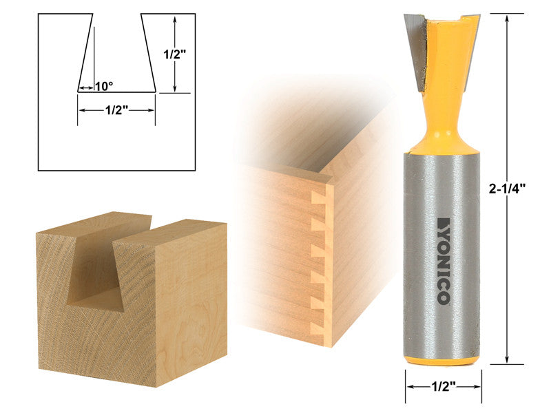 "10° 1/2"" Dovetail Joint Router Bit - 1/2"" Shank - Yonico 14111"