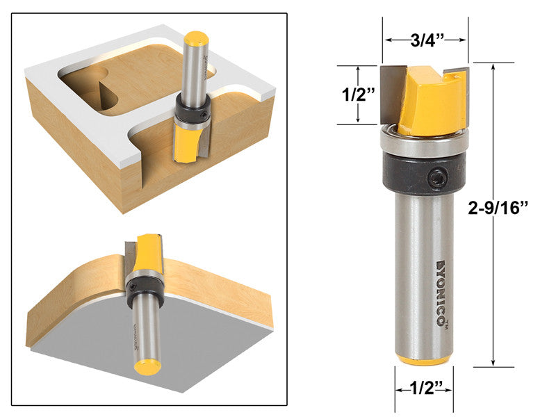 "Mortising/Template Trim Router Bit 1/2""H X 3/4""W - 1/2"" Shank - Yonico 14167"