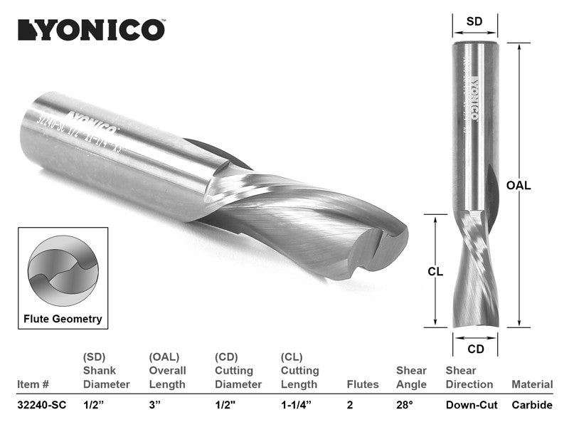 "CNC Router Bit Down Cut Solid Carbide 1/2"" X 1-1/4"" X 1/2"" X 3"" YONICO 32240-SC"