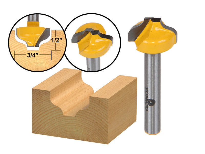 "Ogee Groove Router Bit - 3/4"" Diameter - 1/4"" Shank - Yonico 14974q"