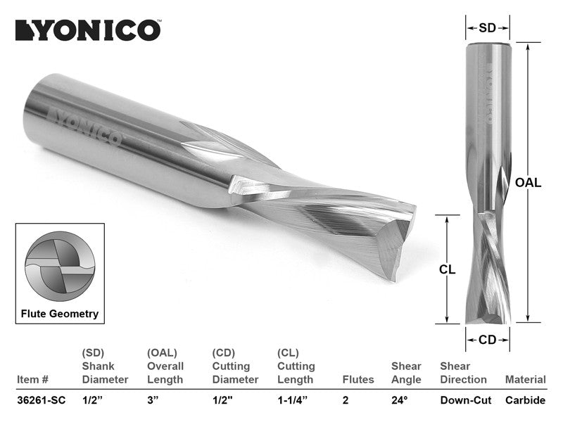 "CNC Router Bit Low Helix Down Cut 1/2"" X 1-1/4"" X 1/2"" X 3"" - YONICO 36261-SC"