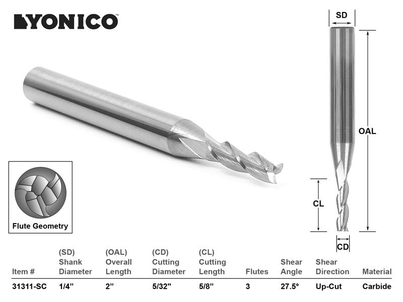 "CNC Router Bit Up Cut Solid Carbide 5/32"" X 5/8"" X 1/4"" X 2-1/2""-YONICO 31311-SC"