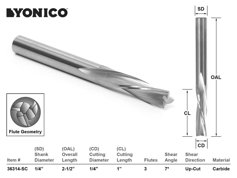 "CNC Router Bit Low Helix Down Cut Long Reach 1/4"" X 1/4""  - YONICO 36314-SC"