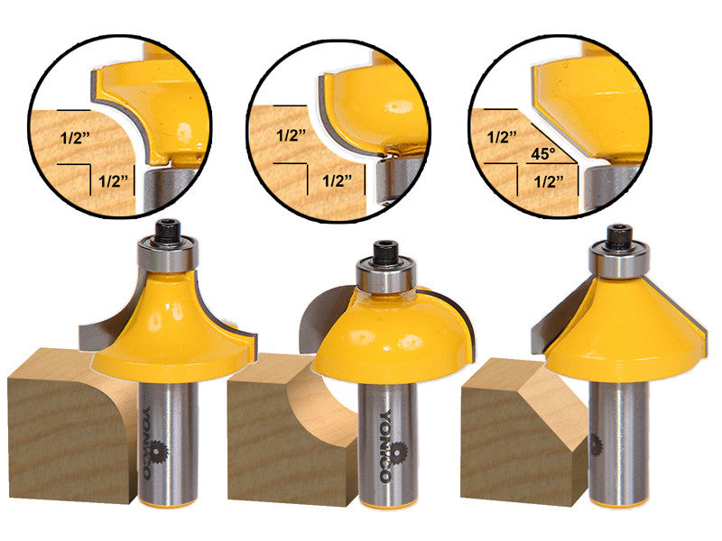 3 Bit Edging Router Bit Set - Large Roundover Cove and Chamfer - Yonico 13312