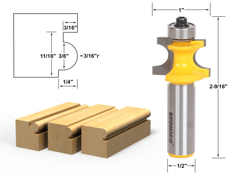 "Bullnose Beading Router Bit 3/16""r - 3/8"" bead - 1/2"" Shank - Yonico 13192"