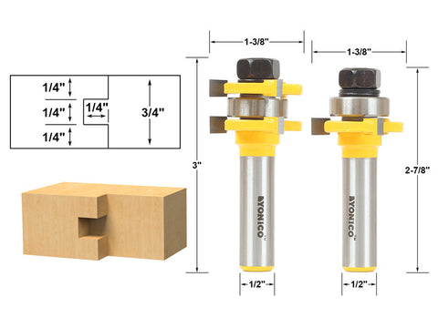 "Tongue and Groove Router Bit Set 1/4"" x 1/4"" - 1/2"" Shank Yonico 15228"