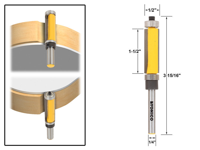 "Flush Trim Router Bit Top & Bottom Bearing - 1-1/2""H X 1/4"" Shank - Yonico 14982"