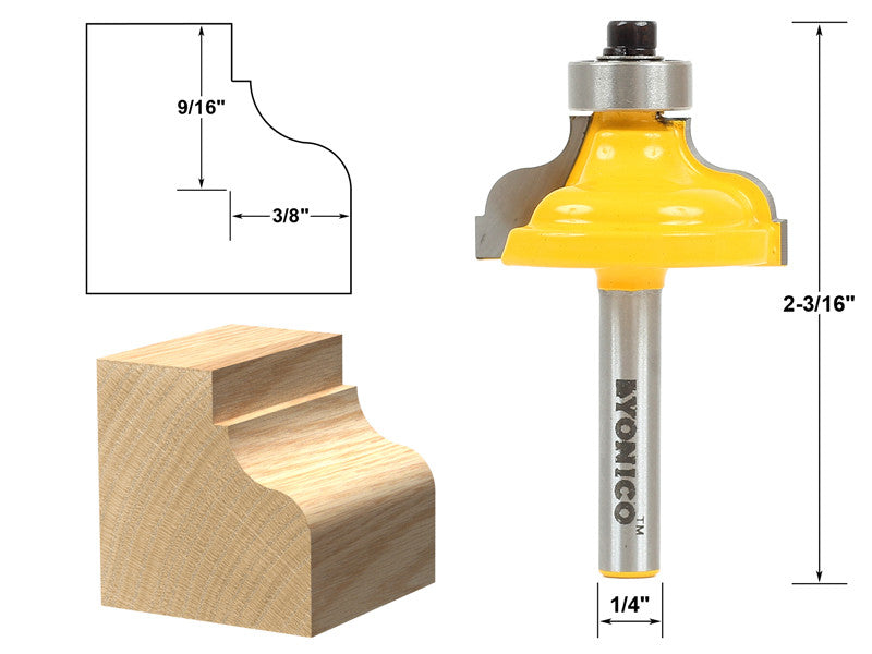 "Ogee Fillet Edging and Molding Router Bit - Medium - 1/4"" Shank - Yonico 13179q"