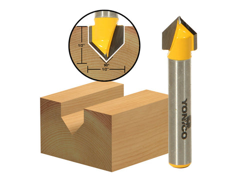 "90° V-Groove Router Bit - 1/2""W X 1/2""H - 1/4"" Shank - Yonico 14991q"