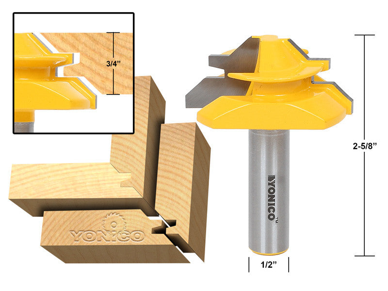 "Medium Lock Miter Router Bit - 45° - 3/4"" Stock - 1/2"" Shank - Yonico 15127"
