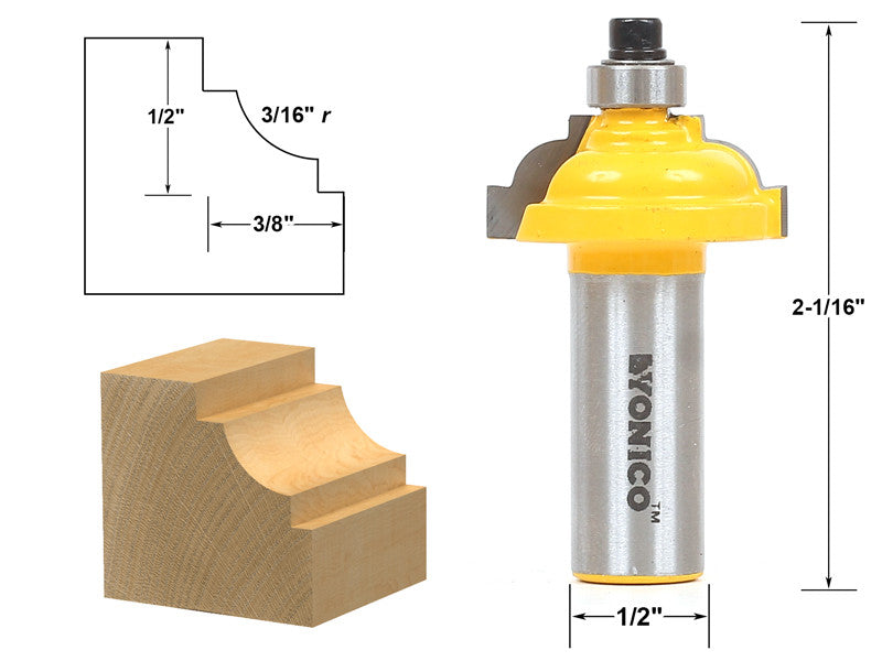 "Classical Cove Edging Router Bit - 3/16"" Radius -1/2"" Shank - Yonico 13189"