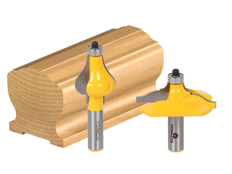 2 Bit Handrail Router Bit Set - Classical Ogee/Flute - Yonico 18225