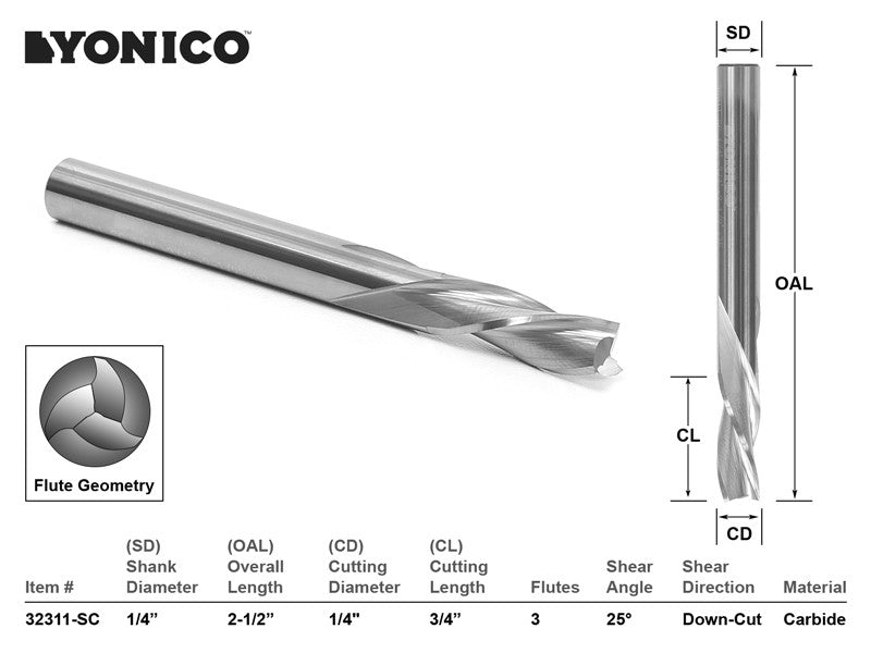 "CNC Router Bit Down Cut Solid Carbide1/4"" X 3/4"" X 1/4"" X 2-1/2"" YONICO 32311-SC"