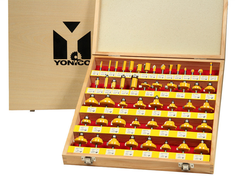 "50 Bits Professional Quality Router Bit Set C3 Carbide 1/4"" Shank Yonico  17504"