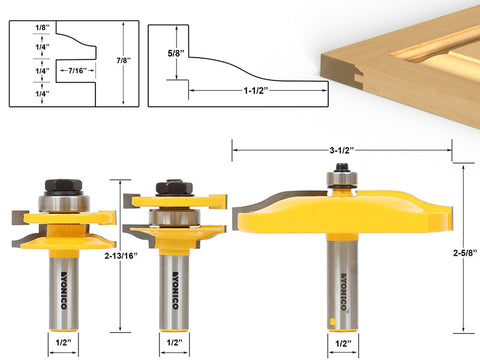 3 Pc. Rail & Stile and Panel Raiser Router Bit Set - Large Ogee - Yonico 12337