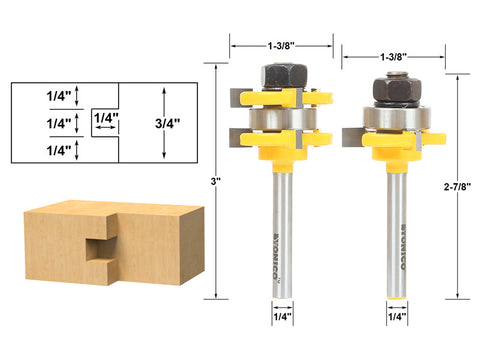 "Tongue and Groove Router Bit Set 1/4"" x 1/4"" - 1/4"" Shank Yonico 15228q"