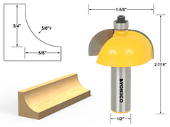 "Cove Edging and Molding Router Bit - 5/8"" Radius - 1/2"" Shank - Yonico 13157"
