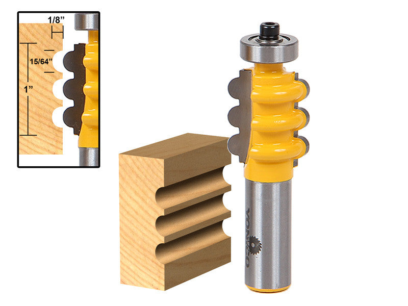 "Triple Flute Column/Face Molding Router Bit - Small - 1/2"" Shank - Yonico 16161"