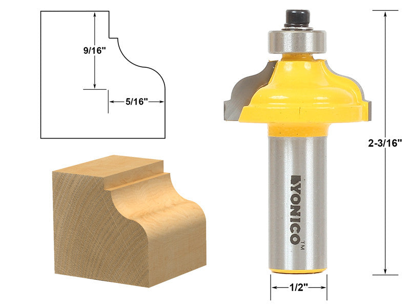 "Ogee Fillet Edging and Molding Router Bit - Medium - 1/2"" Shank - Yonico 13179"