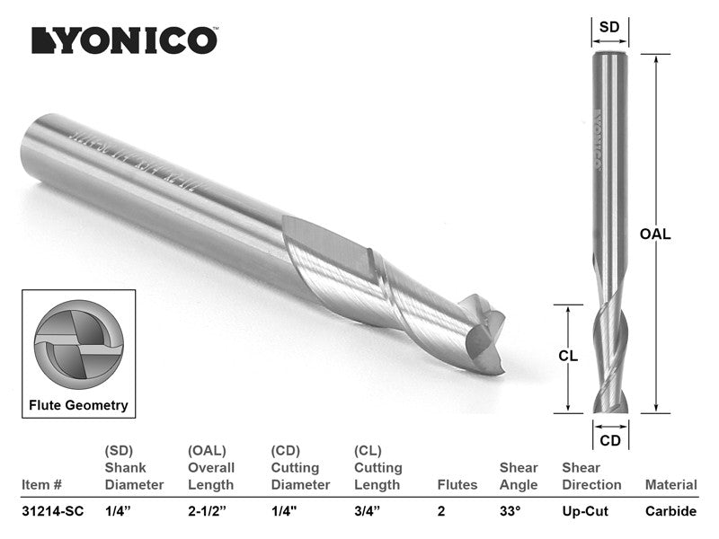 "CNC Router Bit Up Cut Solid Carbide 1/4"" X 3/4"" X 1/4"" X 2-1/2"" -YONICO 31214-SC"