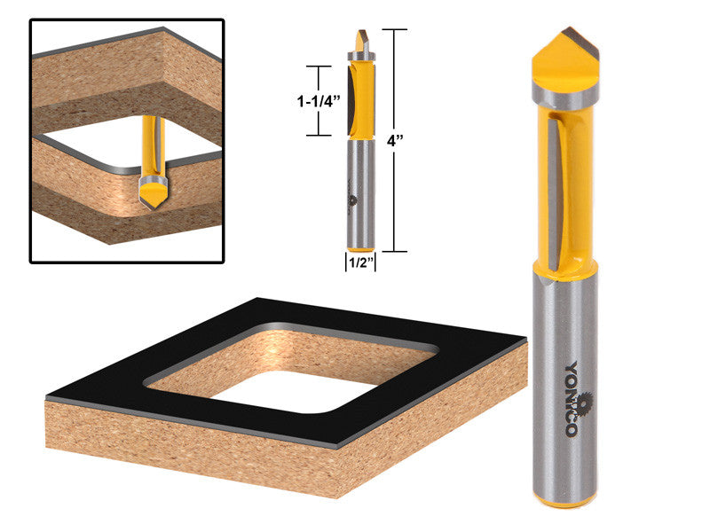 "Panel Pilot Flush Trim Router Bit - 1/2"" Shank - Yonico 14175"