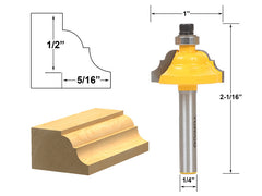 "Double Roman Ogee Edging Router Bit - Small - 1/4"" Shank - Yonico 13122q"