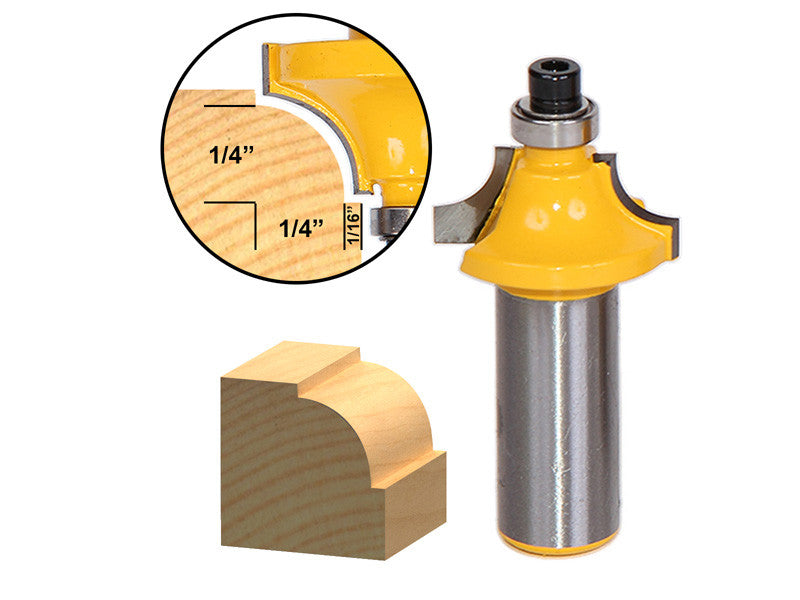 "Round Over Beading Edging Router Bit - 1/4"" Radius - 1/2"" Shank - Yonico 13172"