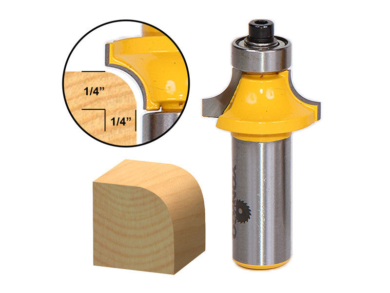 "Round Over Edging Router Bit - 1/4"" Radius - 1/2"" Shank - Yonico 13162"