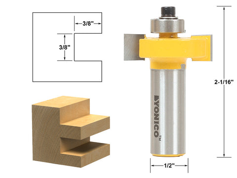 "3/8"" Slot Slotting & Rabbeting Router Bit - 1/2"" Shank - Yonico 14186"