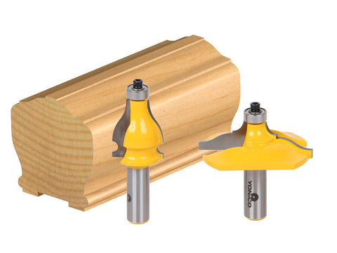 "2 Bit Handrail Router Bit Set - Classical Ogee/Bead - 1/2"" Shank - Yonico 18231"