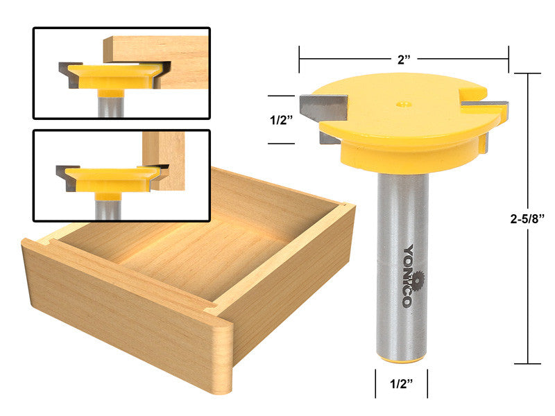 "Drawer Front Joint Router Bit - Reversible - 1/2"" Shank - Yonico 15133"