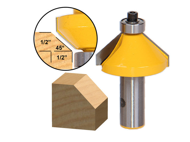 "45° Chamfer/Bevel Edging Router Bit - Large - 1/2"" Shank - Yonico 13106"