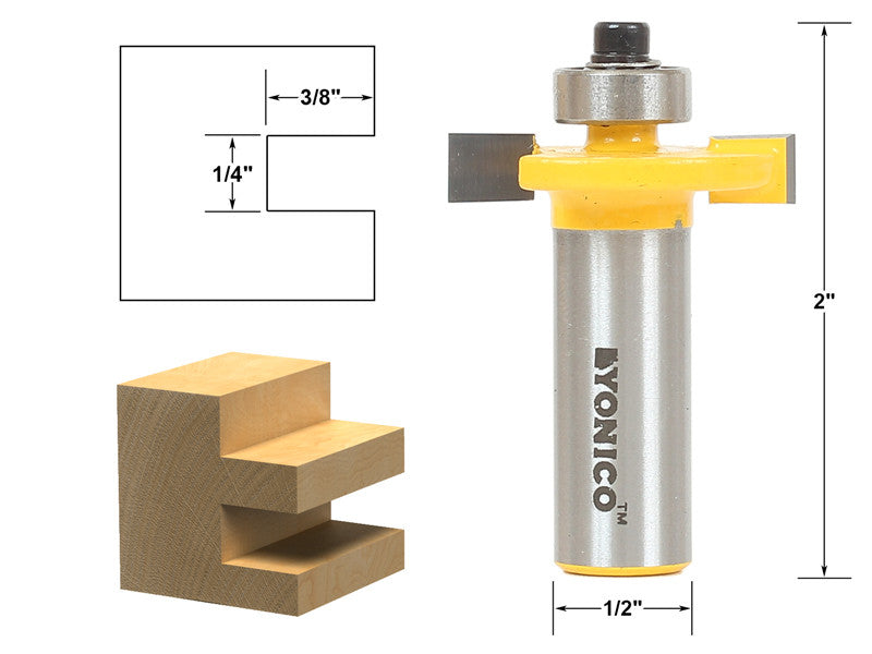 "1/4"" Slot Slotting & Rabbeting Router Bit - 1/2"" Shank - Yonico 14184"