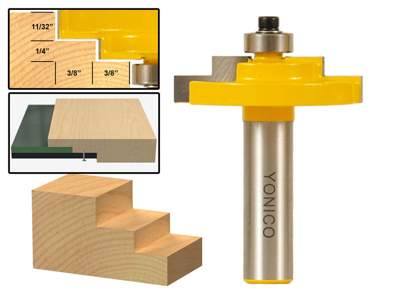 "Picture Frame Stepped Rabbet Router Bit For 3/16"" Glass - Yonico 18127"
