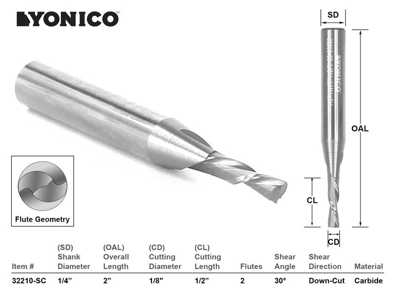 "CNC Router Bit Down Cut Solid Carbide 1/8"" X 1/2"" X 1/4"" X 2"" YONICO 32210-SC"