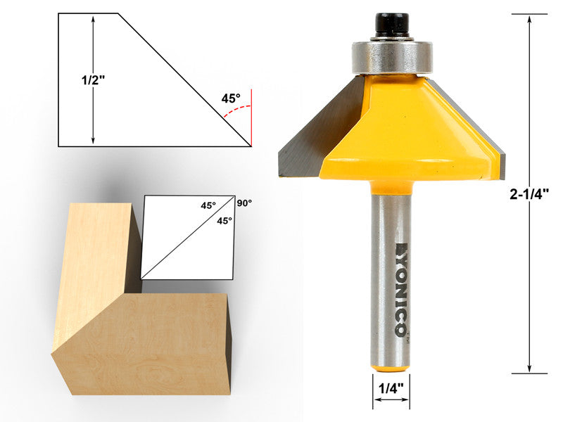 "45° Chamfer & Bevel Edging Router Bit - 1/4"" Shank - Yonico 13906q"