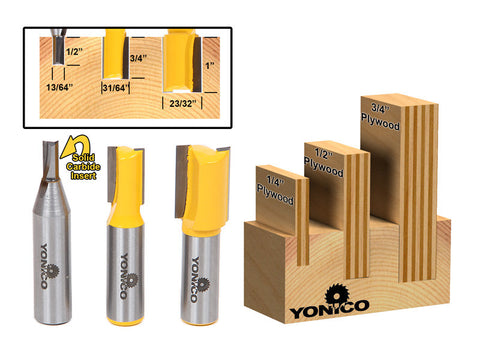 "3 Bit Undersized Dado Router Bit Set For 3/4"" 1/2"" & 1/4"" Plywood - Yonico 14323"