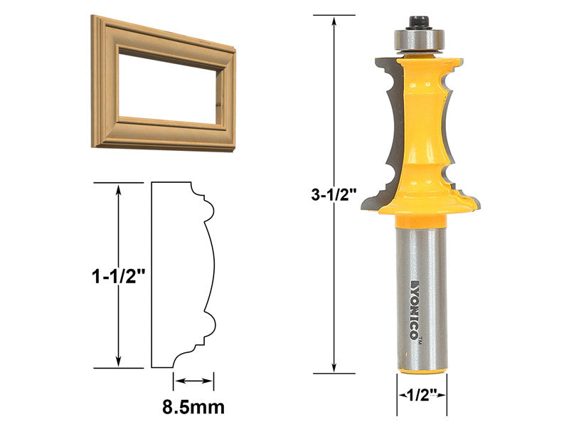 "Mitered Drawer Front Molding Router Bit - 1/2"" Shank - Yonico 16165"