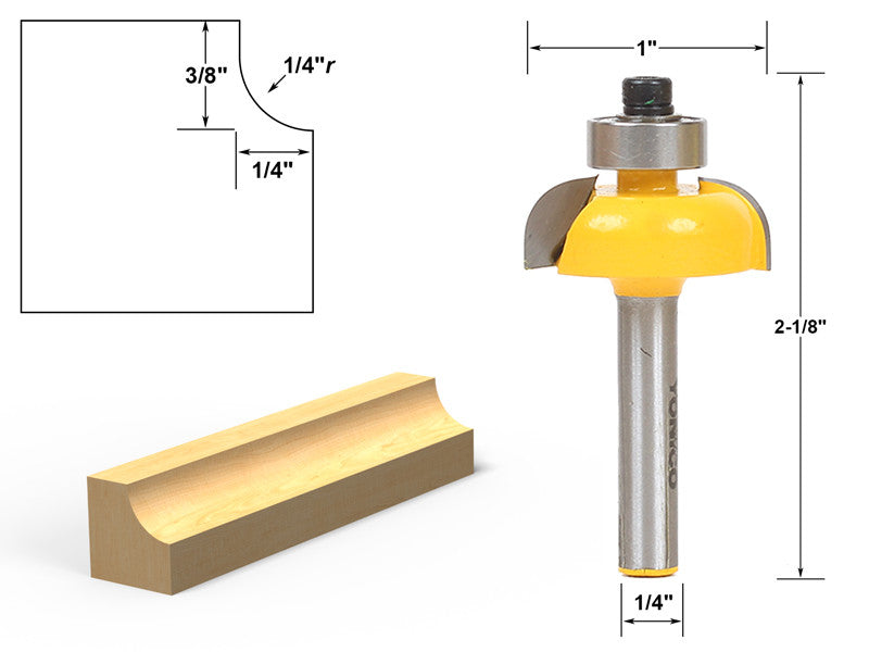 "Cove Edging and Molding Router Bit - 1/4"" Radius - 1/4"" Shank - Yonico 13152q"