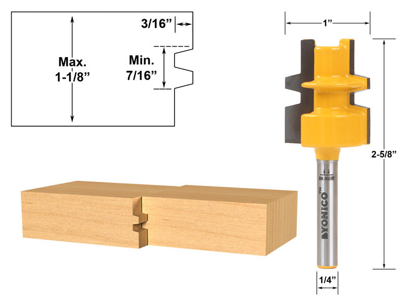 "Glue Joint Router Bit - Medium Reversible - 1/4"" Shank - Yonico 15136q"