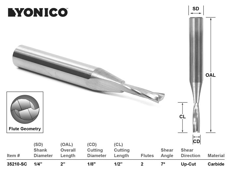 "CNC Router Bit Low Helix Up Cut 1/8"" X 1"" X 1/4"" X 2"" - YONICO 35210-SC"