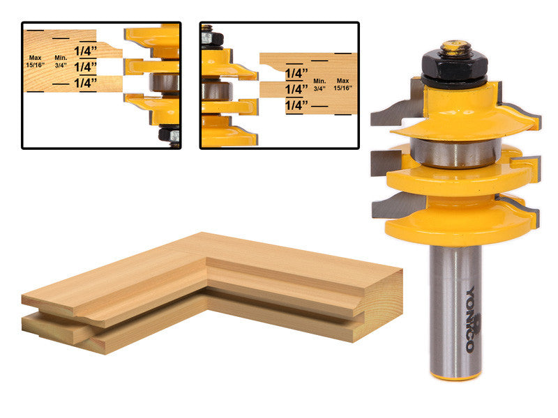 "Rail & Stile Router Bit Ogee Stacked - 1/2"" Shank - Yonico 12121"