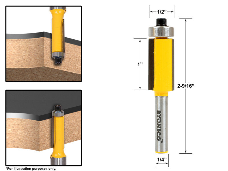 "Flush Trim Router Bit End Bearing - 1/2""W X 1""H - 1/4"" Shank - Yonico 14147q"